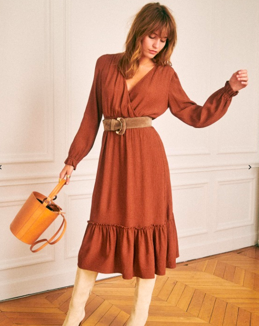 """French Fashion : Robe à volant couleur brune - Sézane"""