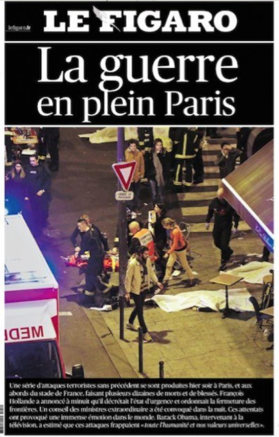 """""""Newspaper cover about about the 2015 November 13th terrorist attack in Paris"""""""