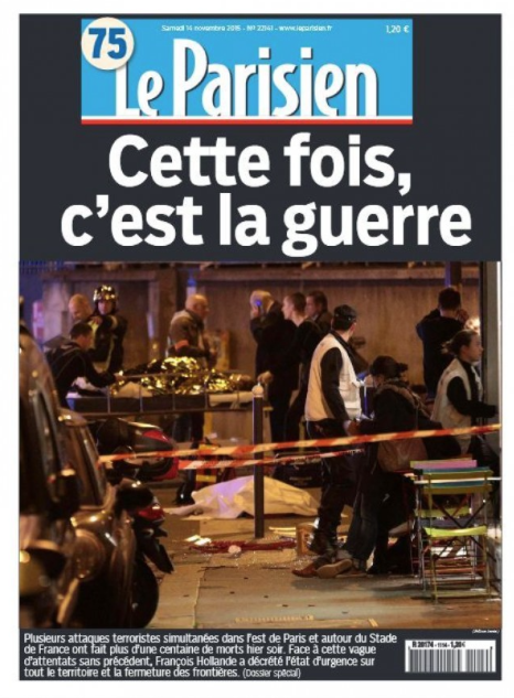 """""""""""Newspaper cover about about the 2015 November 13th terrorist attack in Paris"""""""