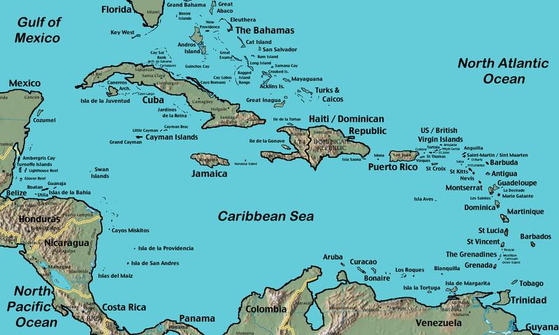 """""""French Antilles in Caribbean area - carte des Antilles françaises"""""""