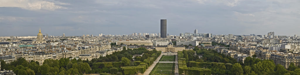 """Montparnasse Tower in Parisian landscape"""