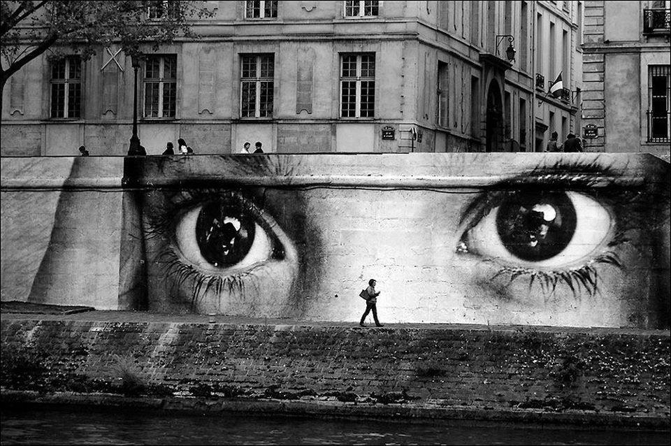 """French street artist - JR - Paris bridge"""